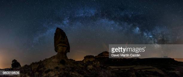 Panoramic image of rock against starry sky, Huesca, Spain