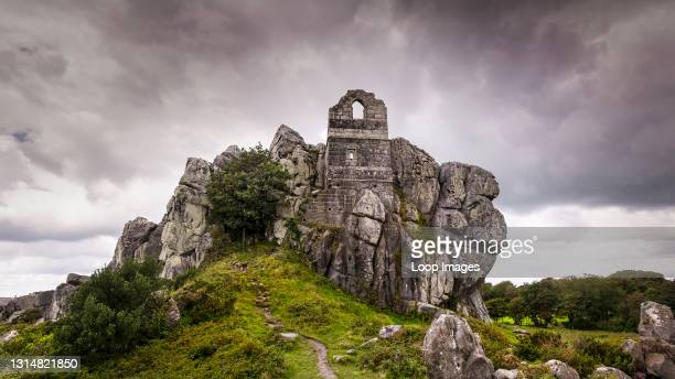 Panoramic image of the ruins of the atmospheric 15th century Roche Rock Hermitage in Cornwall.