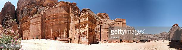 Panoramic image of the Tombs of Petra