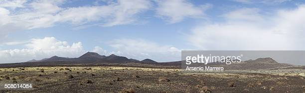 Panoramic in Lanzarote volcanic landscape