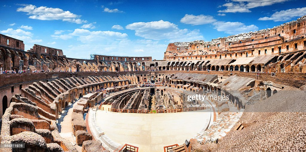 Panoramic Interior of The Colosseum in Rome, Italy : Stock Photo