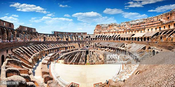 panoramic interior of the colosseum in rome, italy - colosseum stock pictures, royalty-free photos & images