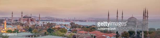 panoramic istanbul mosques - istanbul stock pictures, royalty-free photos & images