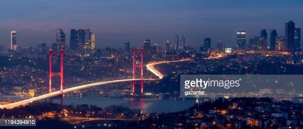 panoramische istanbul night stockfoto - istanbul stockfoto's en -beelden