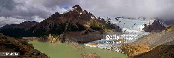 Panoramic Lago Torre in Glaciers National Park in Argentina showing glacier and morraines, Patagonia, South America