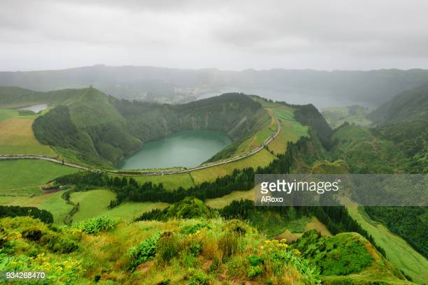 Panoramic landscape from Azores lagoons at sunset.