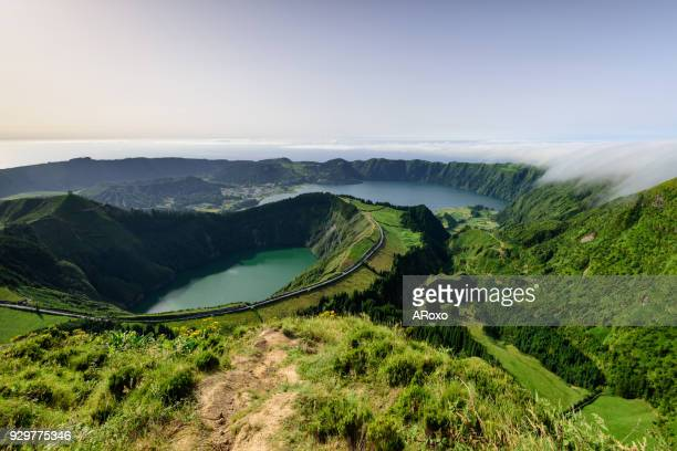 Panoramic landscape from Azores lagoons. Fogo lagoon at sunrise.