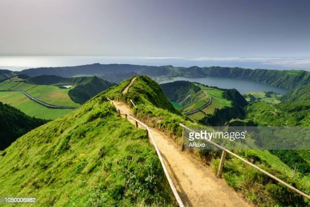 panoramic landscape from azores lagoons. - azores fotografías e imágenes de stock