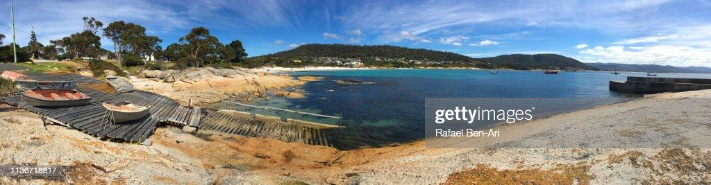 Panoramic landscape of Bay of Bicheno bay Tasmania Australia : Stock Photo