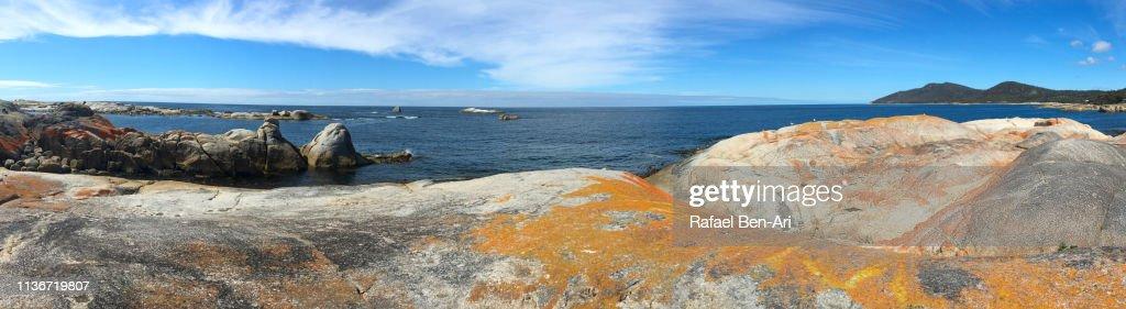 Panoramic landscape of Bay of Fires Tasmania Australia : Stock Photo