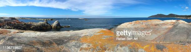 Panoramic landscape of Bay of Fires Tasmania Australia