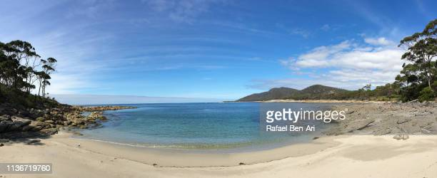 Panoramic landscape of beautiful empty beach in Tasmania Australia