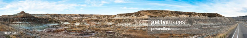 Panoramic Landscape of the Canadian Badlands, Alberta, Canada : Stock Photo