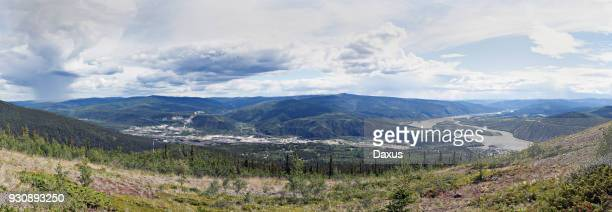 Panoramic landscape of the Klondike and Yukon rivers