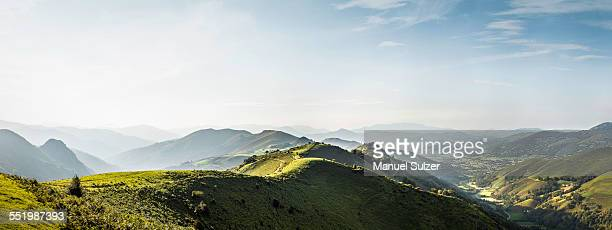 panoramic landscape, saint-michel, pyrenees, france (near the spanish-french border) - tal stock-fotos und bilder