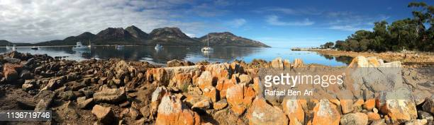 Panoramic landscape view of Coles Bay Tasmania Australia