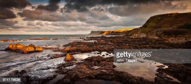 Panoramic landscape with cliff coastline and sea, Ballycastle, Antrim, Northern Ireland