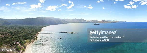 panoramic landscapes of komodo island, indonesia - seascape stock pictures, royalty-free photos & images