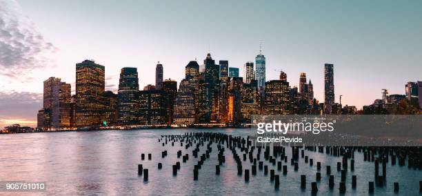 panoramic manhattan buildings - world financial center new york city stock pictures, royalty-free photos & images