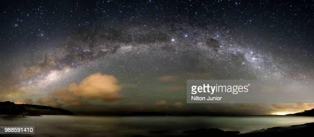 Panoramic Milk Way over the ocean