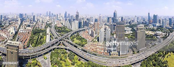 Die moderne Stadt skyline Panorama, Verkehr, Gebäude, die skyline von Shanghai