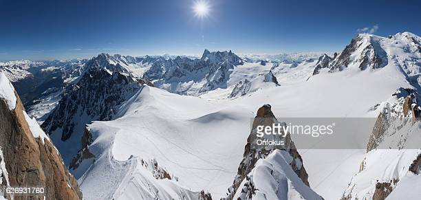 panoramic mont blanc summit from aiguille du midi, chamonix, france - auvergne rhône alpes stock photos and pictures