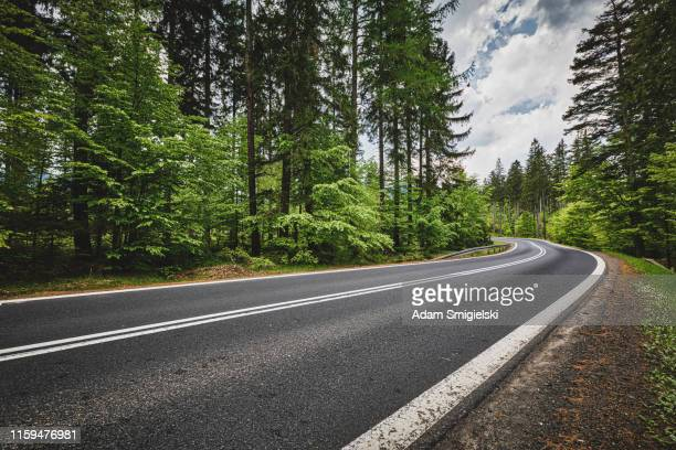 panoramic mountain road (hdri) - road stock pictures, royalty-free photos & images