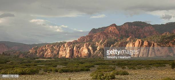 panoramic mountain view in pastel colors - timothy hearsum stock pictures, royalty-free photos & images