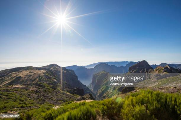 panoramic mountain view - madeira island stock photos and pictures