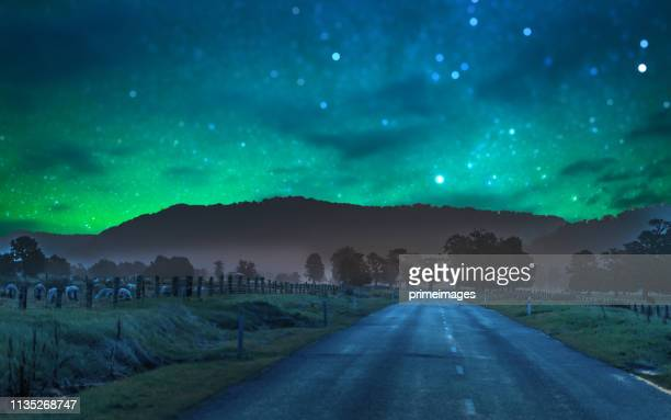 panoramic nature landscape in south island new zealand with milky way - aurora australis stock pictures, royalty-free photos & images