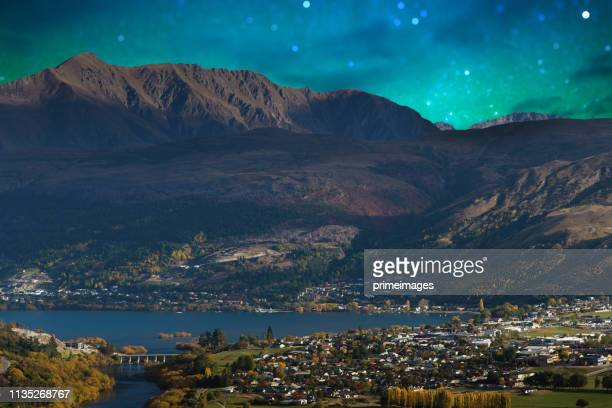 panoramic nature landscape in south island new zealand with milky way - arrowtown stock pictures, royalty-free photos & images