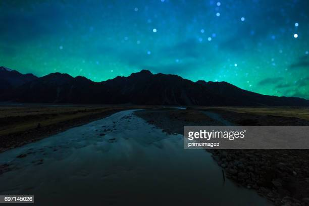 Panoramisch natuur landschap in Nieuw-Zeelandse Zuidereiland met Melkweg