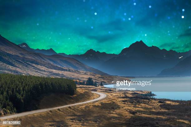 panoramic nature landscape in south island new zealand with milky way - otago region stock pictures, royalty-free photos & images