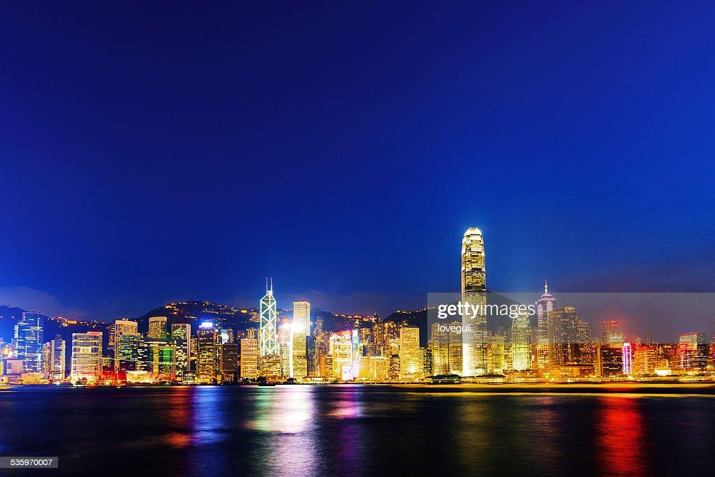 panoramic night scene of hongkong : Stock Photo