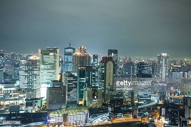 Panoramic night view from Osaka sky tower, Japan