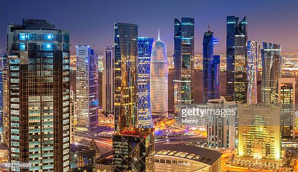 Panoramic Night View of Doha City Skyline, Qatar