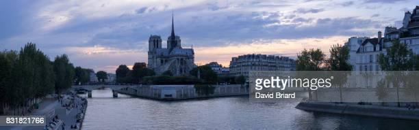 Panoramic Notre-Dame at dusk, Paris