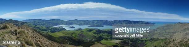 Panoramic of Akarora Harbor, Banks Peninsula, New Zealand.