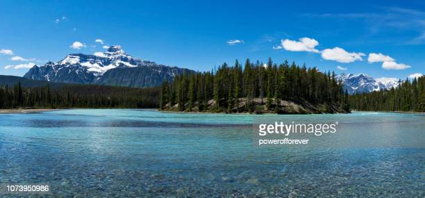Panoramic of Athabasca River in the Canadian Rocky Mountains of Jasper National Park, Alberta, Canada