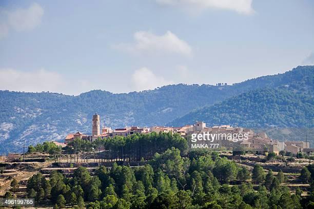 panoramic of ballestar on the tinença de benifassa - castellon province stock pictures, royalty-free photos & images