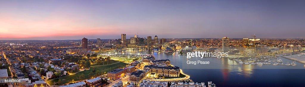 Panoramic of Baltimore Skyline and Inner Harbor : Stock Photo