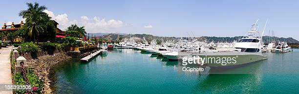 Panoramic of boats in a marina