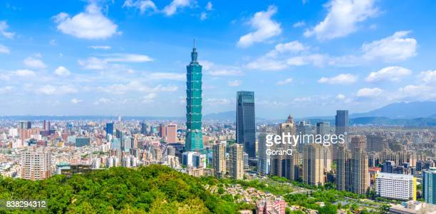 panoramic of city taipei with capital building taipei 101, taiwan - taipei stock pictures, royalty-free photos & images