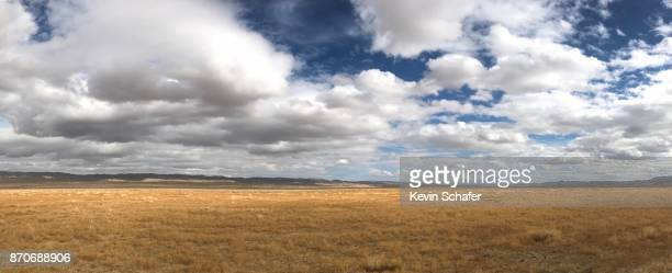 Panoramic of clouds and prairie, Carrizo Plain