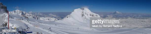 panoramic of dachstein glacier - schladming stock pictures, royalty-free photos & images