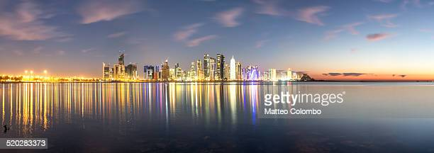 Panoramic of Doha skyline at sunrise, Qatar