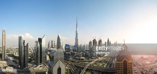 Panoramic of Dubai downtown