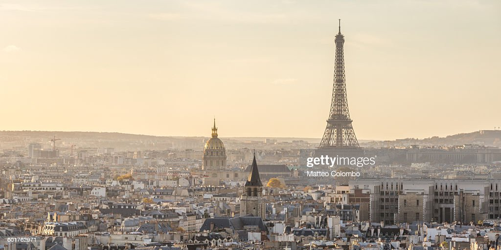 Panoramic of Eiffel tower and city of Paris : Stock Photo