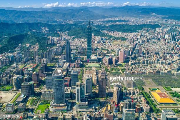 在臺北,臺灣的金融區全景 - taipei 101 個照片及圖片檔