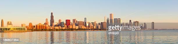 Panoramic of golden sunrise across Chicago skyline